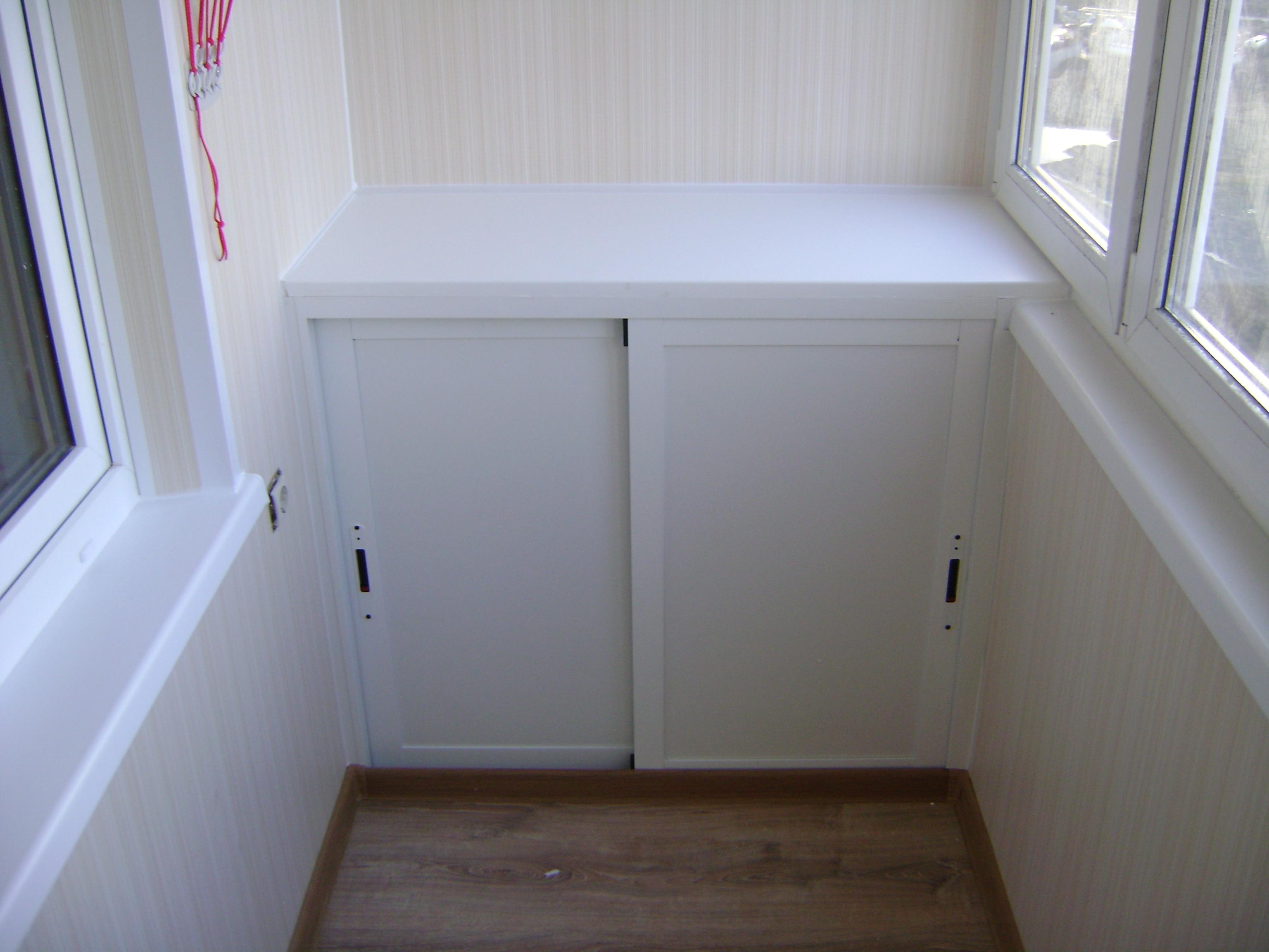 Фото обшитых балконов со шкафами..